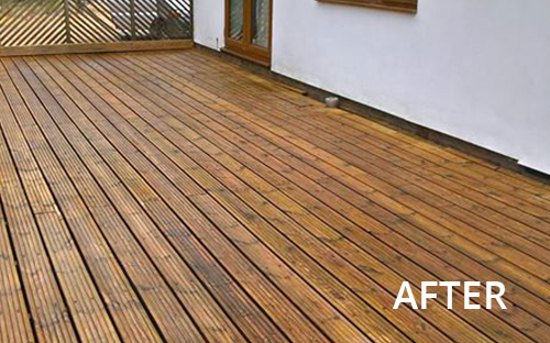 After image of decking after cleaning