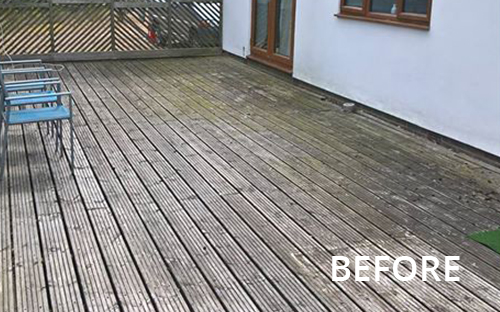 Before image of dirty decking